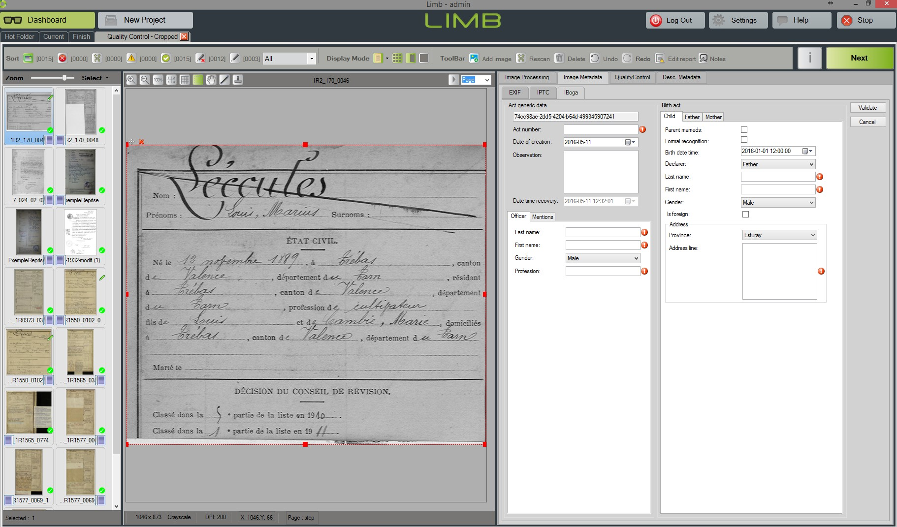 Image manager LIMB Processing
